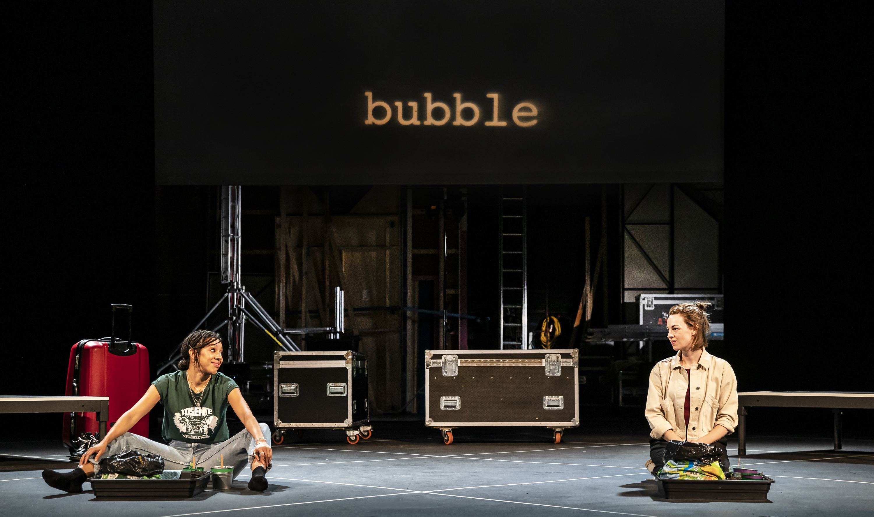 Pearl Mackie and Jessica Raine in Bubble at Nottingham Playhouse. Design, Erin Fleming; lighting design, Alexandra Stafford. Photo: Pamela Raith.