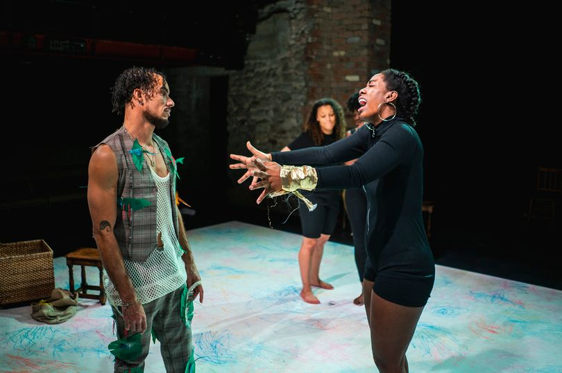 Winston Pyle and Chane Paries Barnes in Anansi and the Grand Prize at Bristol Old Vic. Design, Ruth Ramsay; lighting design, Imogen Senter. Photo: Owain Astles.