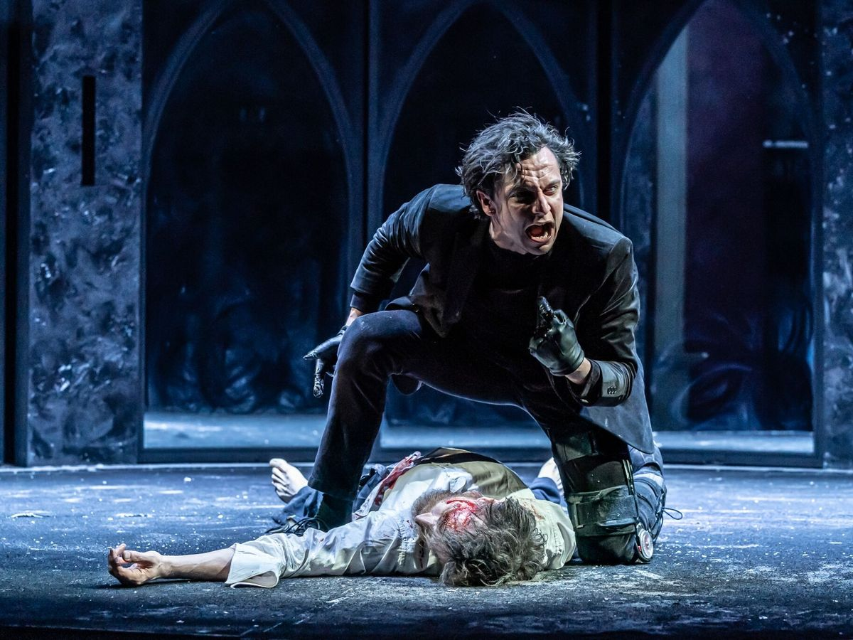 Tom Mothersdale and John Sackville in Richard III at Bristol Old Vic. Design, Chiara Stephenson; lighting design, Elliot Griggs. Photo: Marc Brenner.