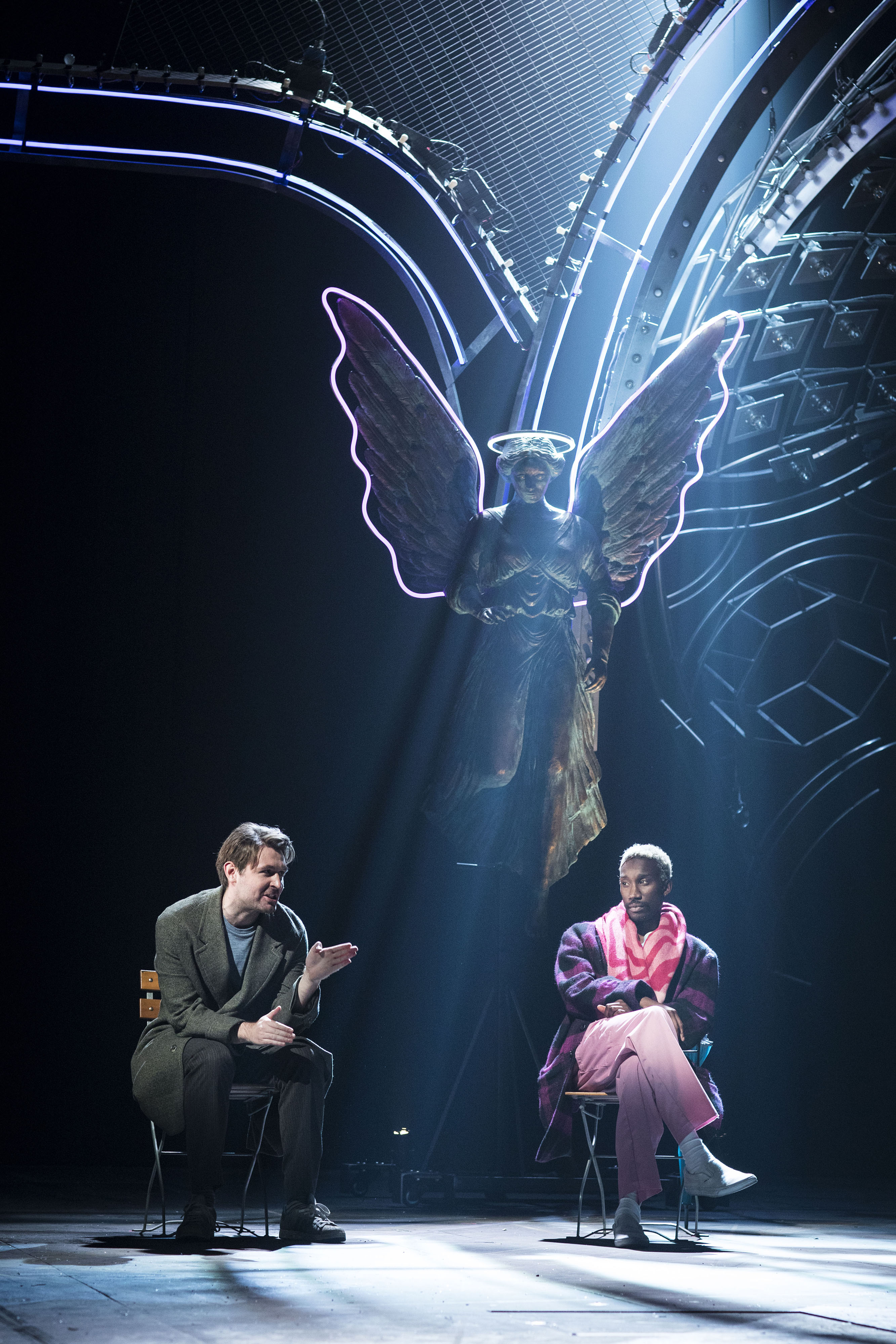 James McArdle (Louis) and Nathan Stewart-Jarrett (Belize) in Perestroika. Photo: Helen Maybanks