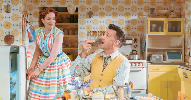 Katherine Parkinson and Richard Harrington in Home, I'm Darling at Theatr Clwyd. Image: Manuel Harlan.