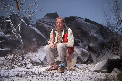 Rhys Ifans in On Bear Ridge at Sherman Theatre, Cardiff. Design, Cai Dyfan; lighting design, Elliot Griggs. Photo: Mark Douet