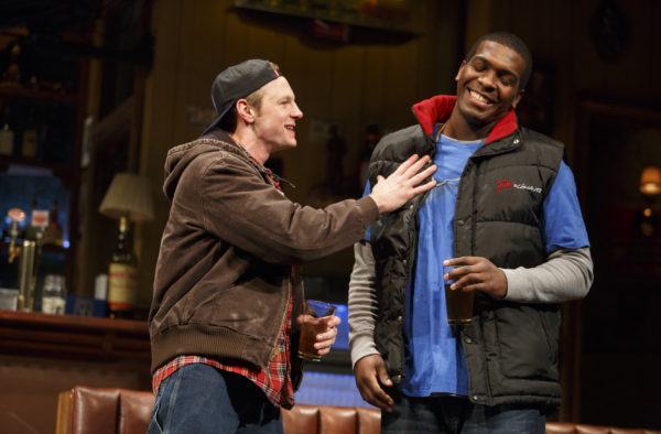 Will Pullen and Khris Davis in Lynn Nottage's Sweat. Photo: Joan Marcus