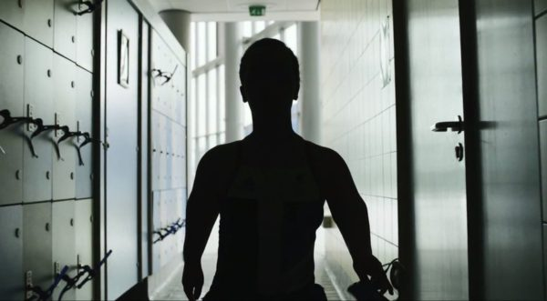 A still from the 2012 Meet the Superhumans campaign - the silhouetted figure of a Paralympic swimmer