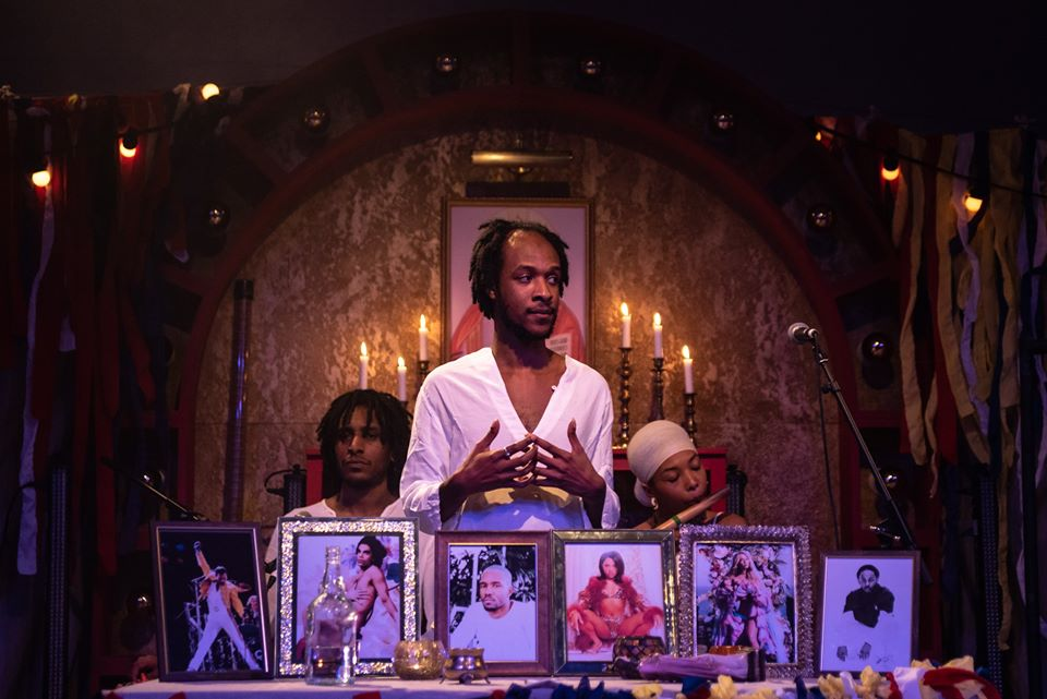 Jamal Gerald in Idol at The Yard. Design and lighting design, Ben Pacey. Photo: Maurizio Martorana.