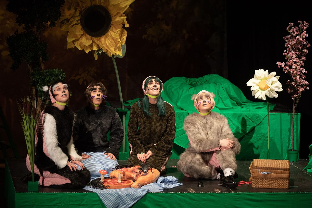 Figs in Wigs in The Wind in the Willows. Design, Tim Spooner; lighting design, Jo Palmer. Photo: Clare Haigh.