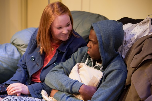 Claire Brown as Ms Jenkins and Jahvel Hall as Tionne in Three Birds. Photo: Jonathan Keenan