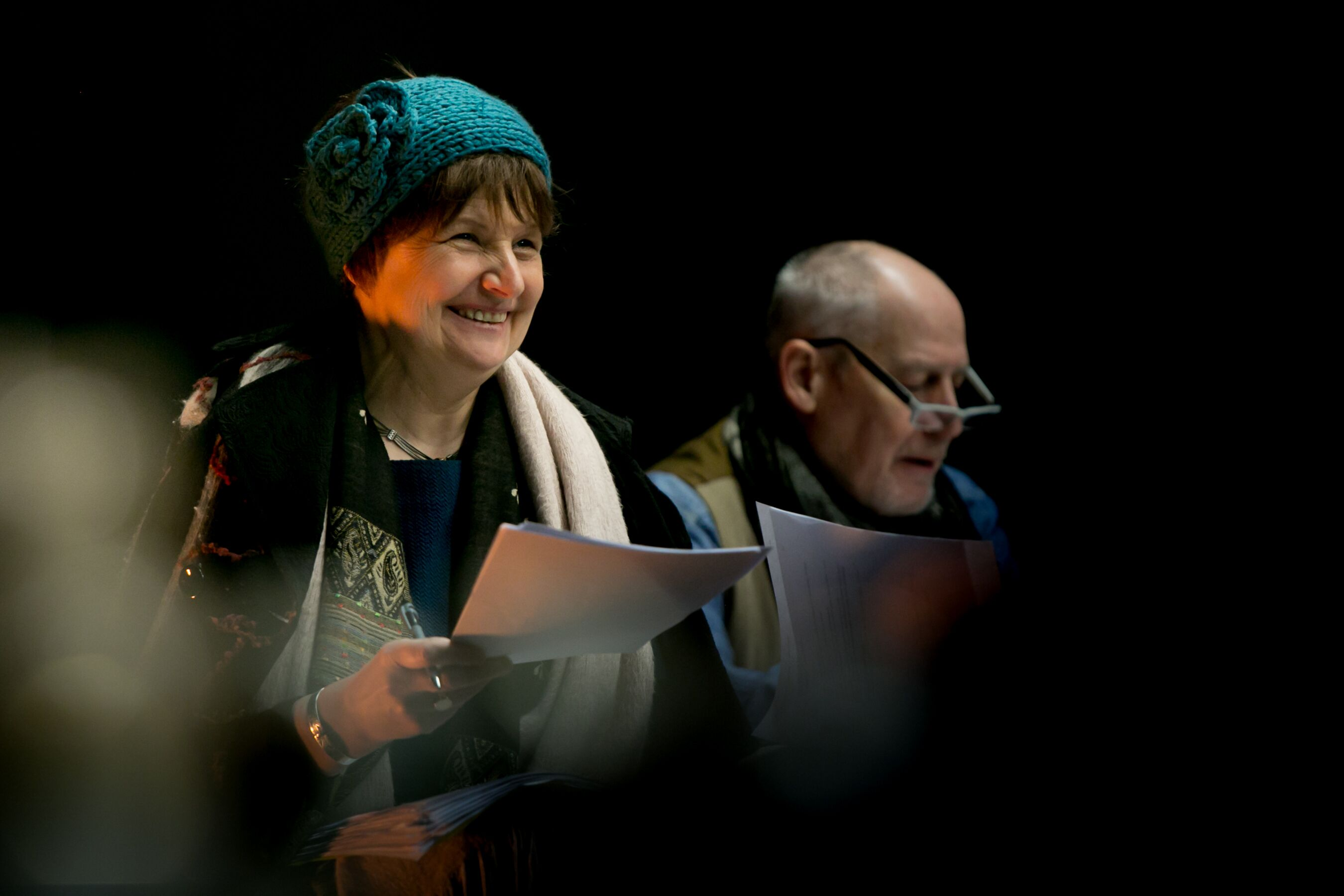 Kaite Welsh and Phillip Zarrilli in rehearsal for 'Cosy'.