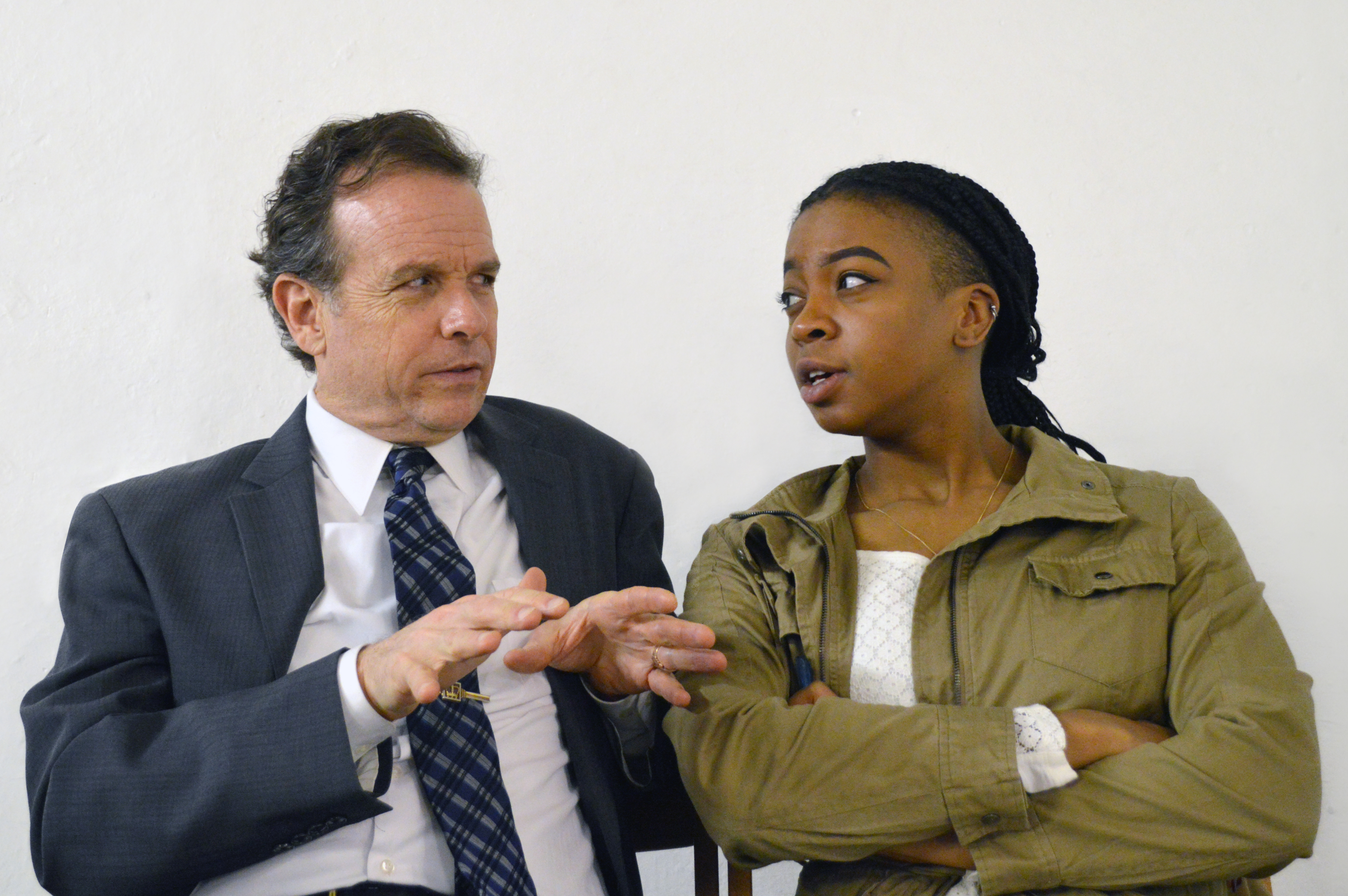Donald Sage Mackay and Joanna McGibbon in 'White Guy on a Bus' at FInborough Theatre