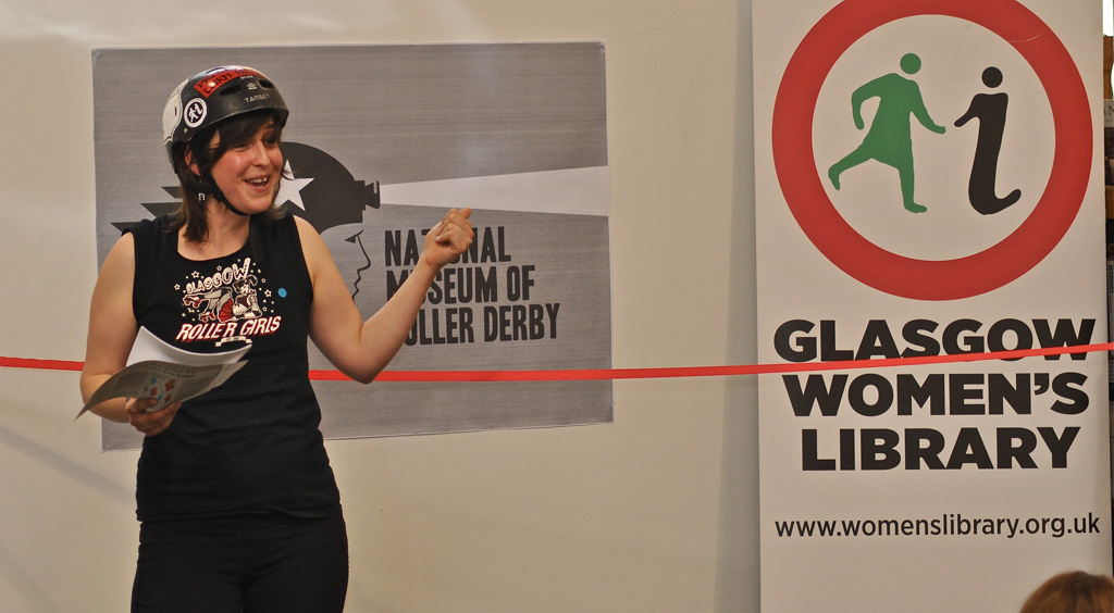 Ellie Harrison at the launch of one of her projects, the National Museum of Roller Derby.