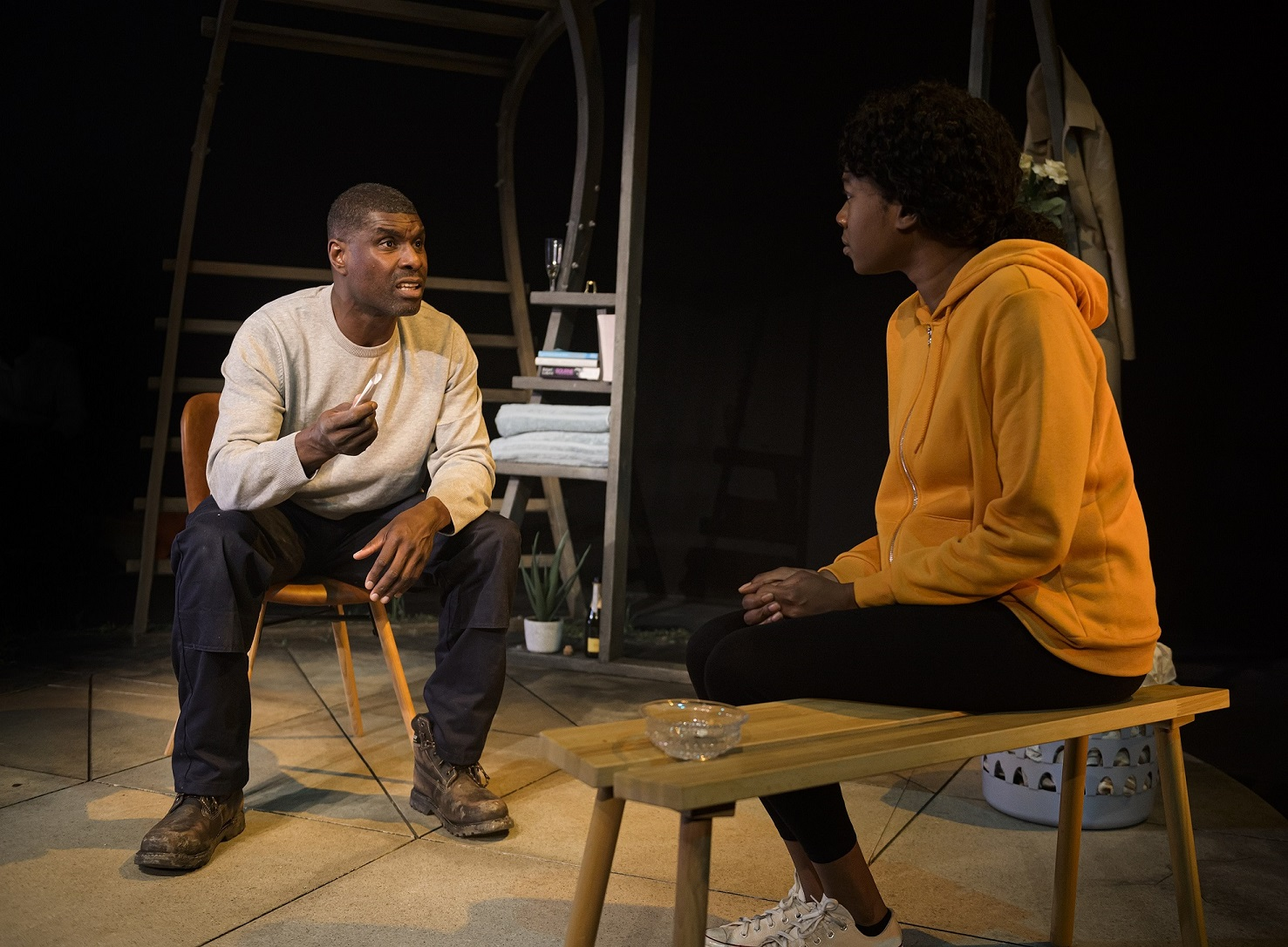 Stanley J Browne and Evlyne Oyedokun in One Under at Live Theatre, Newcastle. Design, Amelia Jane Hankin; lighting design, Tanya Joelle Stephenson. Photo: Patrick Baldwin.