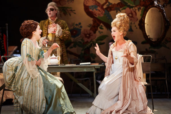 Jessica Harwick as Julia and Lucy Briggs-Owen as Lydia in The Rivals at Bristol Old Vic. Photo: Mark Douet.