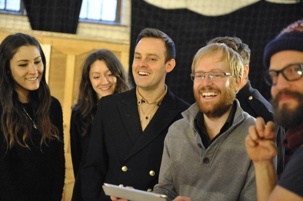 Joe Hill-Gibbins with the cast of The Changeling. Rehearsal photo by Keith Pattison.