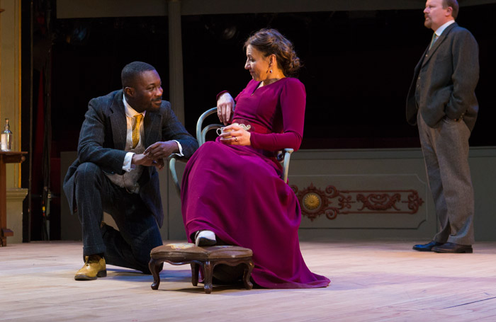 Kirsty Bushell and Jude Owusu in 'The Cherry Orchard' at Bristol Old Vic. Photo: Jon Rowley