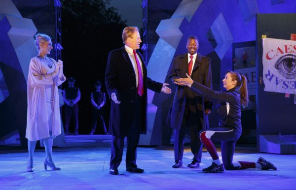 Tina Benko, Gregg Henry, Teagle F. Bougere and Elizabeth Marvel in Julius Caesar. Photo: Joan Marcus