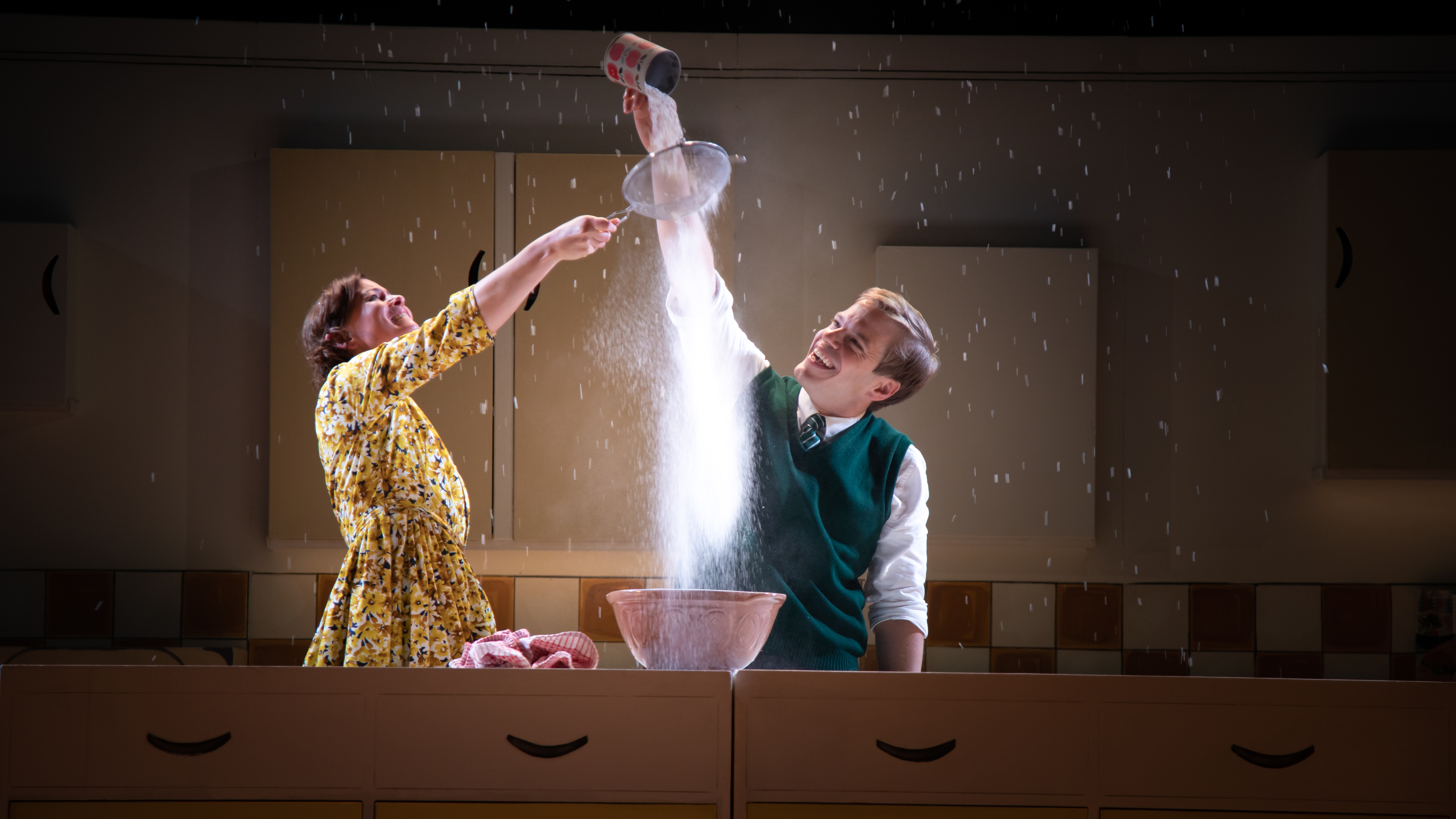 Katy Federman and Giles Cooper in Toast at Northern Stage. Design, Libby Watson; lighting design, Zoe Spurr. Photo: Piers Foley.