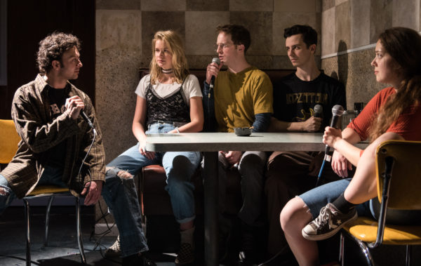 James Kautz, Elizabeth Lail, Spencer Davis Milford, Sean Patrick Monahan and Rachel Franco in The Nibbler. Photo: Russ Rowland