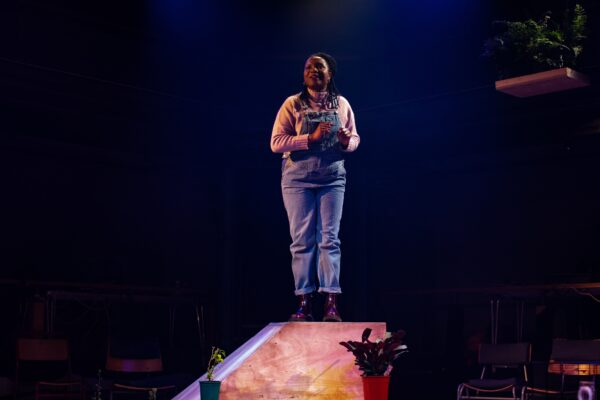 Temi Wilkey in The Kiss by Zoe Cooper, part of Outside at The Orange Tree. Credit: Ali Wright.