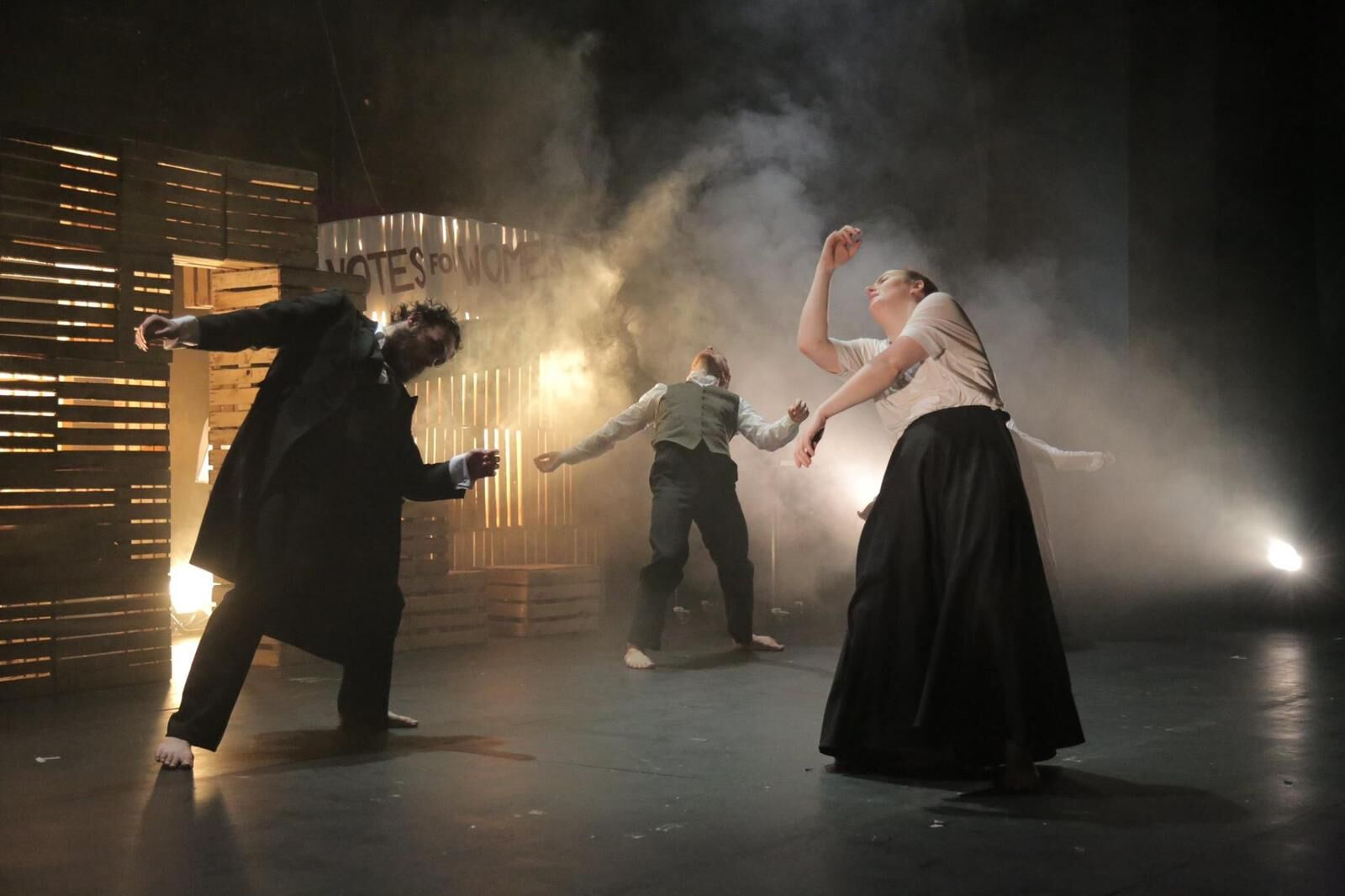 Jannick Moth, Theo Arran and Catherine Muckle in Deeds Not Words at Northern Stage. Design, Tina Frank.