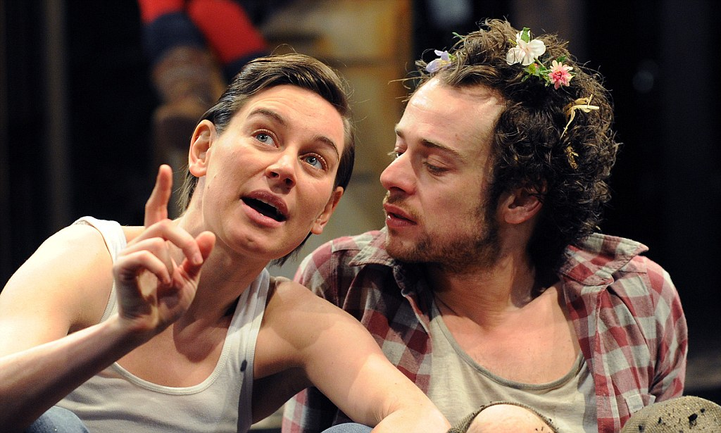 Pippa Nixon (Rosalind) and Alex Waldmann (Orlando) in As You Like It at RSC. Photo: Tristram Kenton