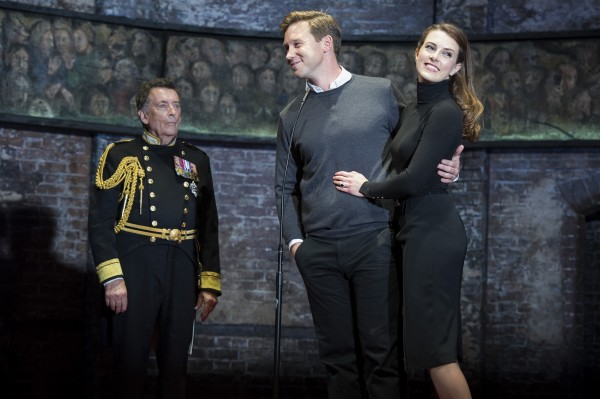 Robert Powell, Ben Righton and Jennifer Bryden in King Charles III. Photo: Richard Hubert Smith.