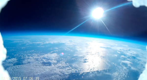 The view from near space, taken by the weather balloon.