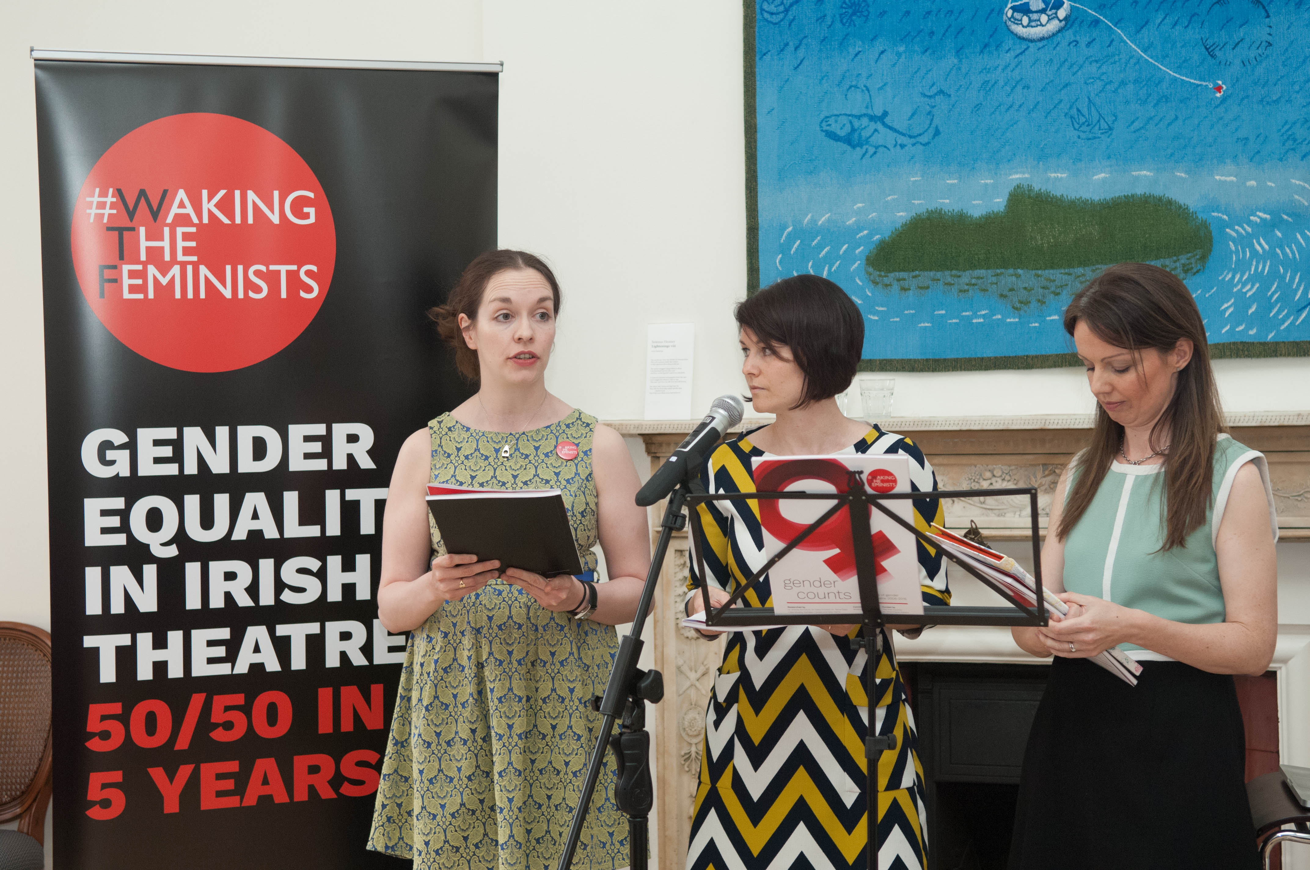 Dr Tanya Dean, Dr Brenda Donhue and Dr Ciara O'Dowd at the launch of 'Gender Counts' by Waking the Feminists