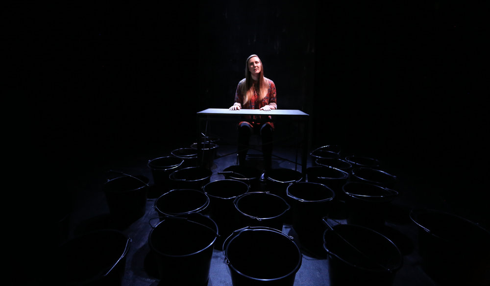 Holly Gallagher in Tensile Strength (Or How To Survive Your Wit's End) at York Theatre Royal. Lighting design, Katharine Williams. Photo: Davey Poremba.
