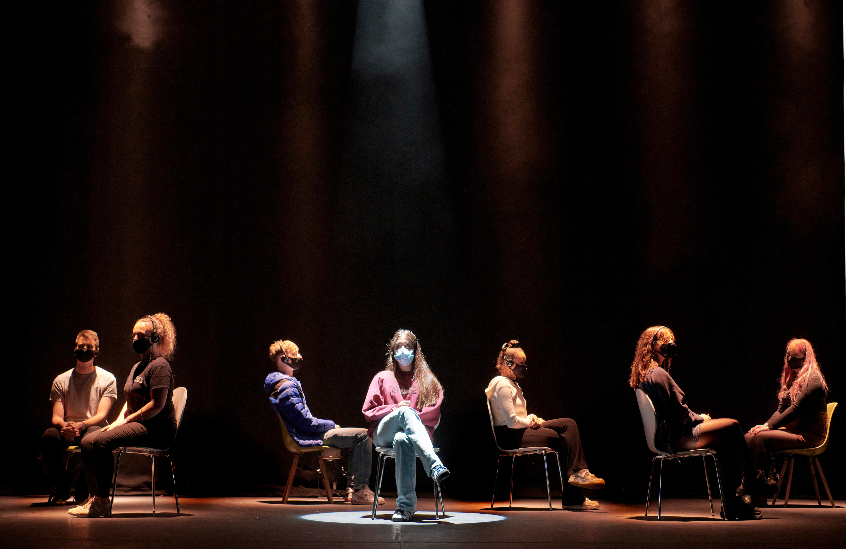 Under the Mask at Oxford Playhouse. Lighting design: Ashley Bale. Photo: Geraint Lewis.