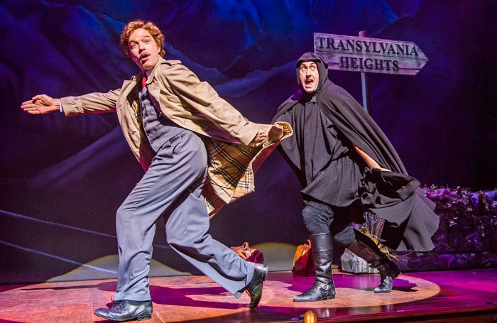 Men running away from the problem in Young Frankenstein, on at the Garrick Theatre
