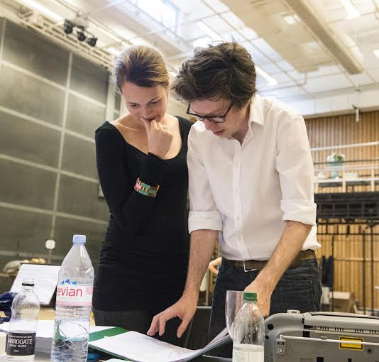 Ben Power and Carrie Cracknall in rehearsals.