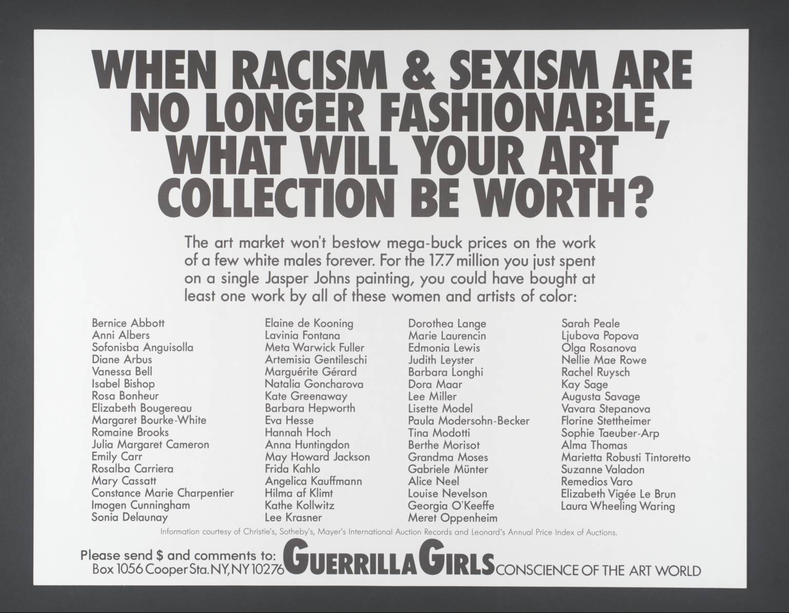 1989 Guerilla Girls flyer. Still true, and also available in tea towel form.