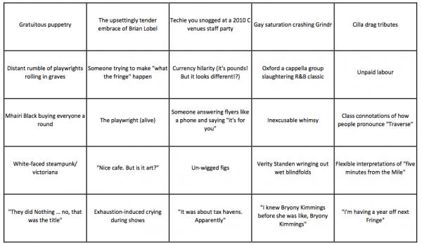 EdFringe Bingo 2015